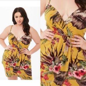 Plus size floral surplice tulip-hem dress